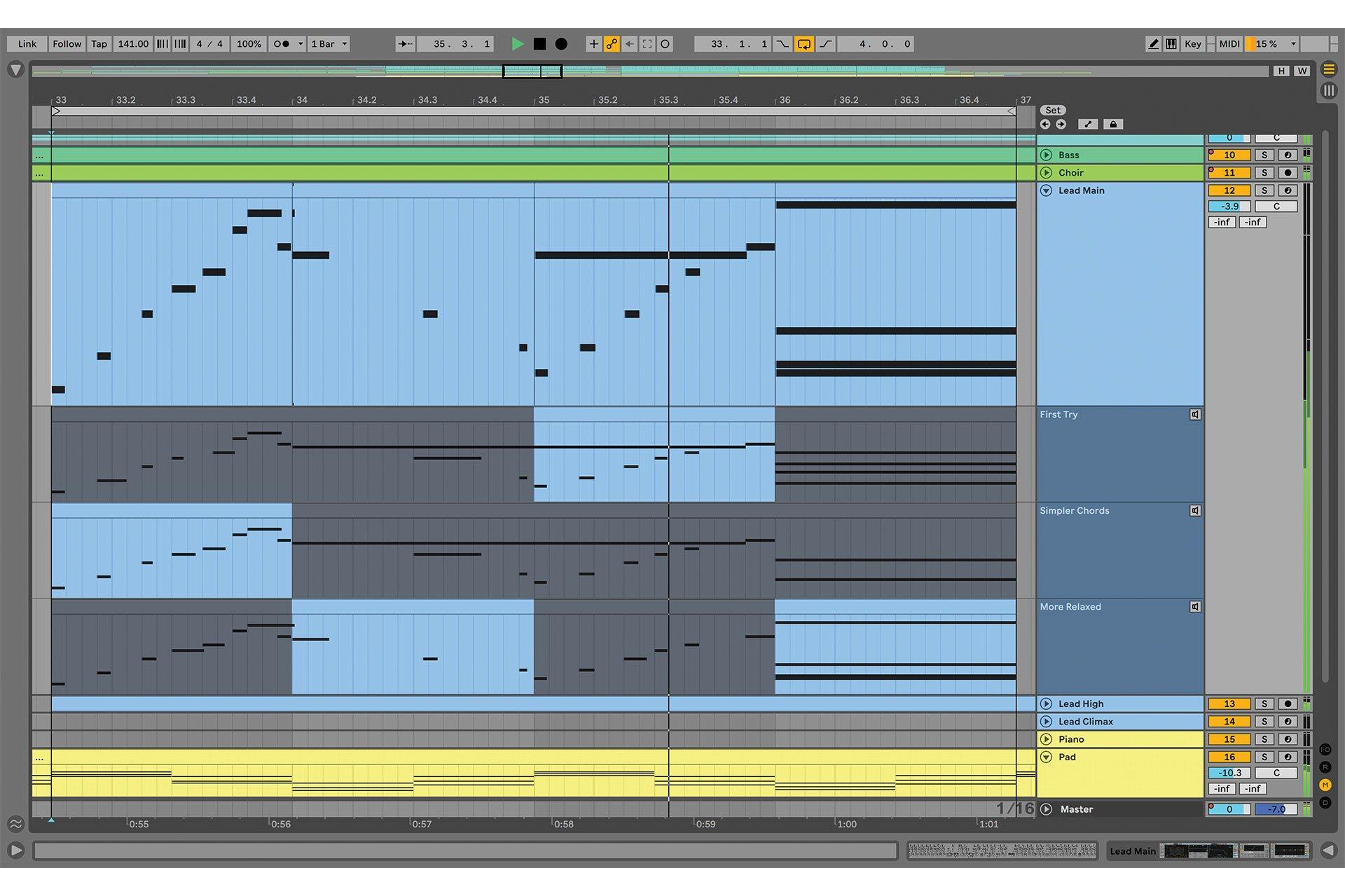 Sortie Ableton Live 11 Comping Midi